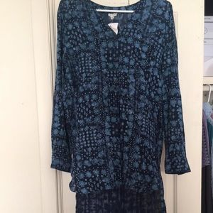 Tops - Blue high low boho dress tunic long shirt